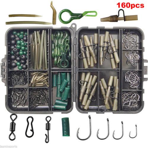 160pcs Carp Fishing Tackle Accessories Kit Lead Clips Carp Swivels Hooks uk