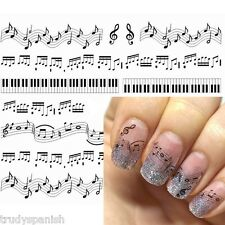 Nail Art Water Decals Stickers Black Sheet Music Musical Notes Piano Keys (S331)