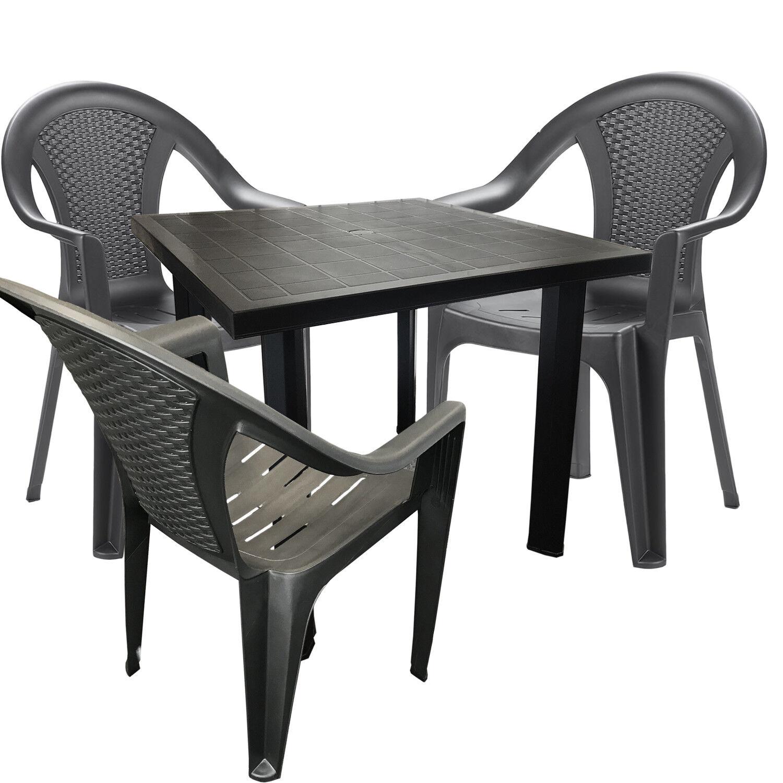 Mojawo ® 4 Pezzi Set da Bistrot plastica tavolo bistrot RETTANGOLARE ANTRACITE 80x75cm