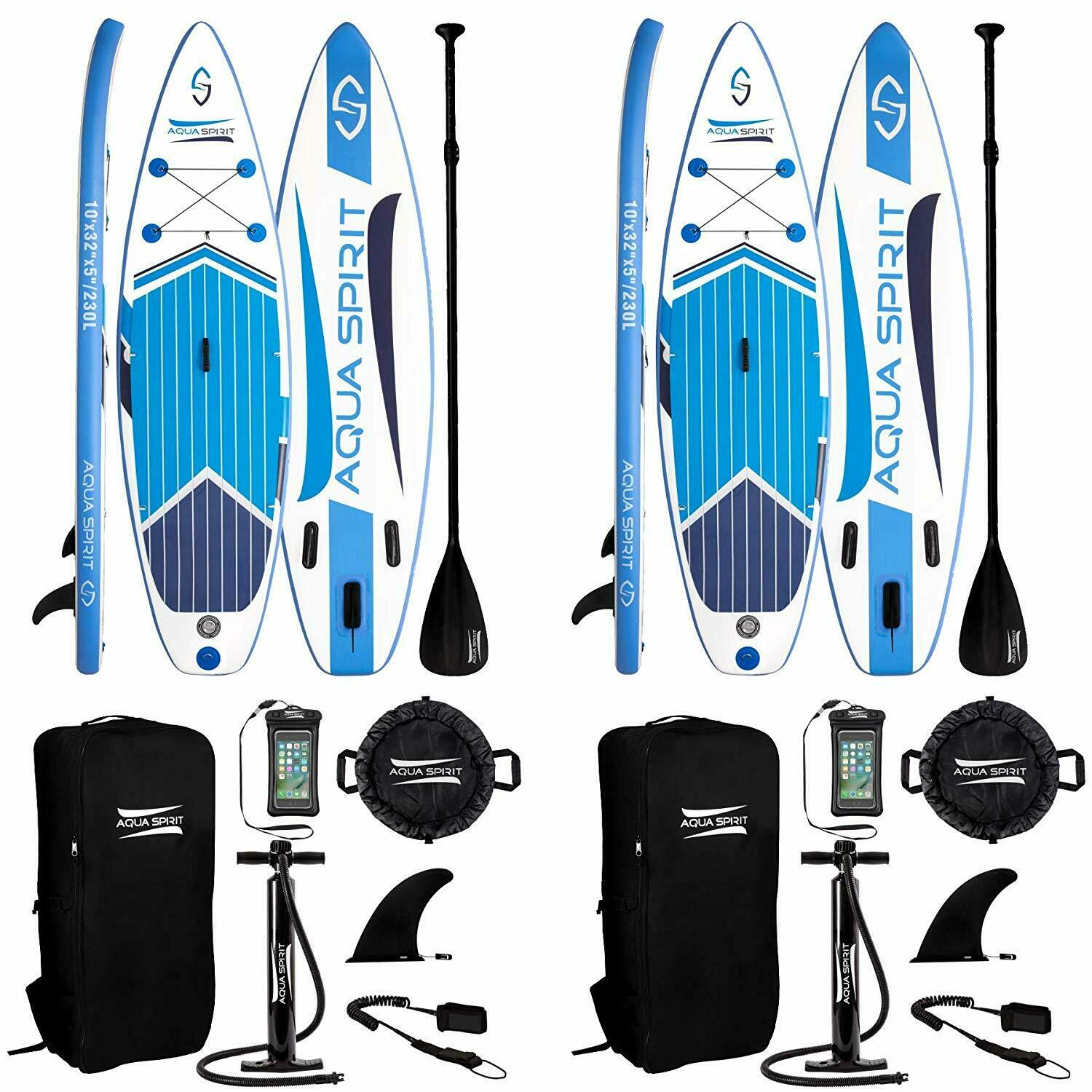 Aqua Spirit 10FT Hinchable Sup Paddle Board Stand Up Paddle Board - Juego de 2
