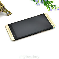 Gold For HTC One M7 LCD Display Touch Screen Digitizer Lens Assembly With Frame