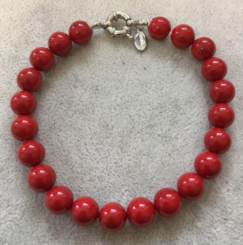 Conchiglia 6,8,10mm Rosso Perla Bracciale Braccialetto Donna Perle Naturale