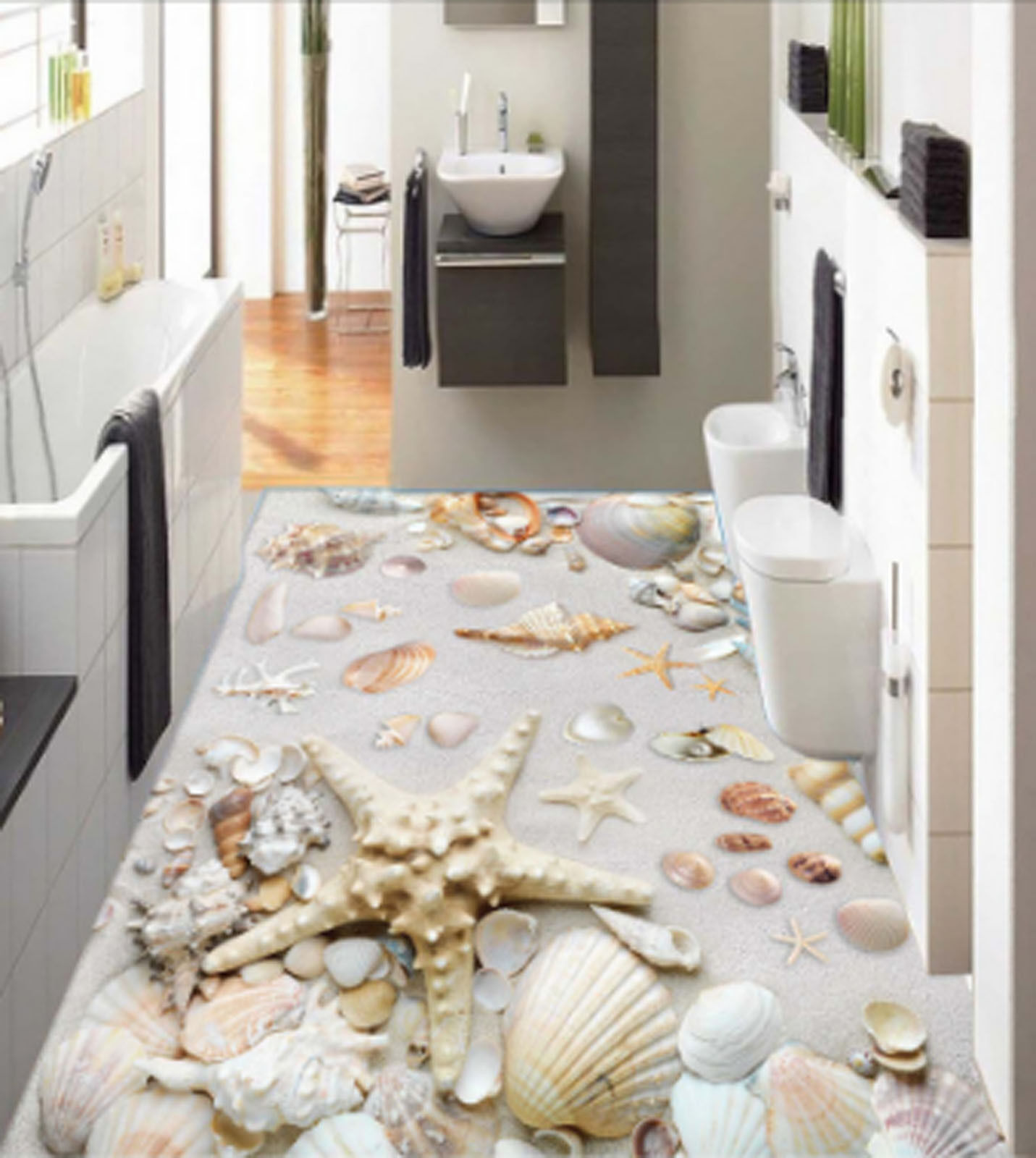 3D Starfish Shells 487 Floor WallPaper Murals Wallpaper Mural Print AJ AU Lemon