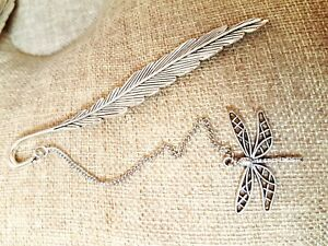 Feather-Antique-Silver-Bronze-Dragonfly-Bookmark-for-Note-Book-Jewelry-Gift