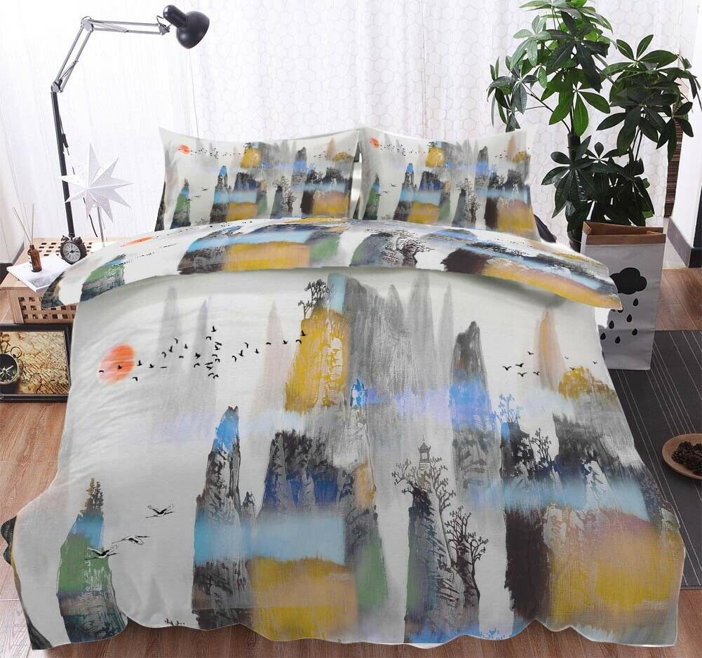 Fog arancia blu 3D Printing Duvet Quilt Doona Covers Pillow Case Bedding Sets
