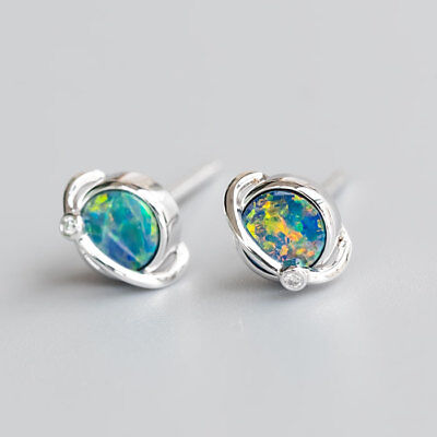 Earth Design Australian Doublet Black Opal Diamond Stud Earrings 18K Rose Gold