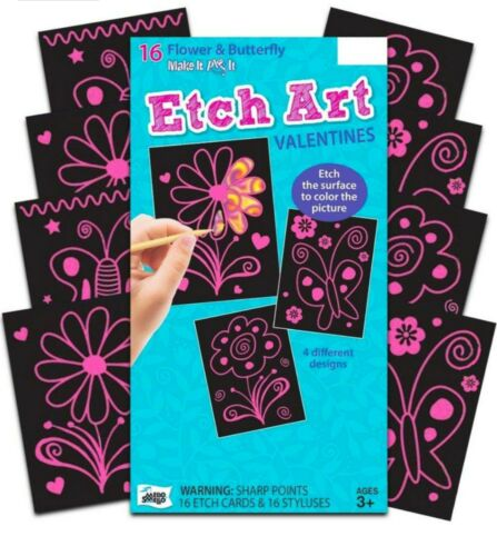 Flower And Butterfly Etch Art Valentine/'s For Kids Classroom