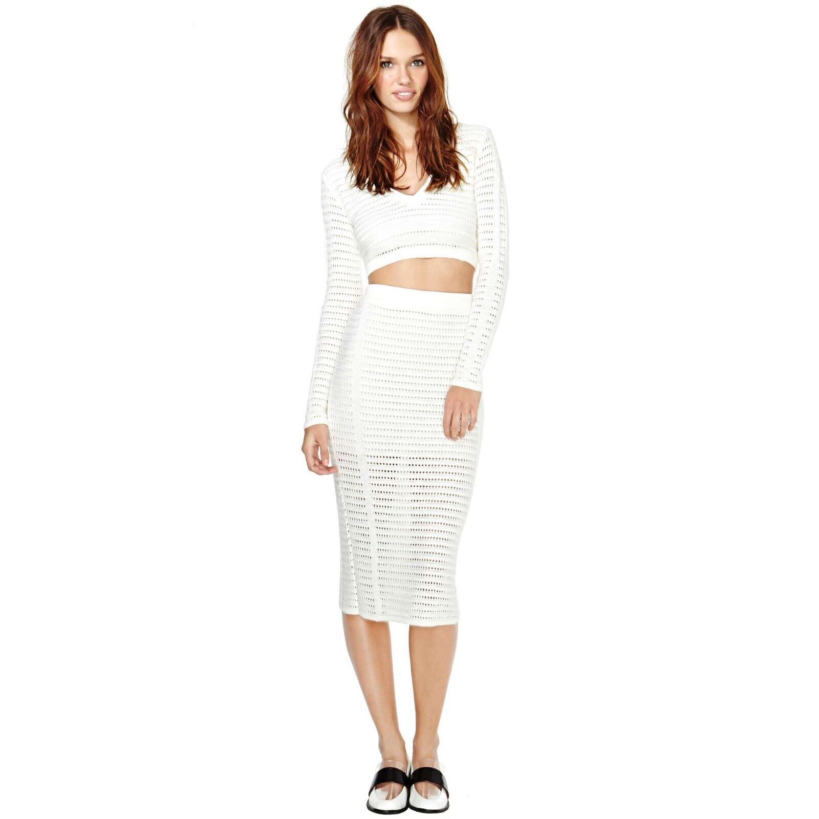 Nasty Gal Ivory Creme Marcelle Sweater Knit LS Open Weave Crop Top + Midi Skirt