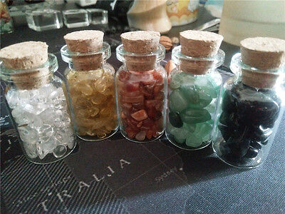 Mixed 5 Bottles of Natural Semi-precious Crushed Gemstones Healing Reiki Wicca