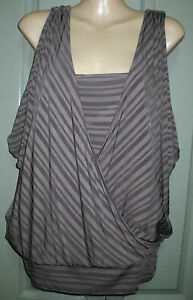 As-New-Guess-S-Brown-Striped-Split-Sleeve-Bat-wing-V-Neck-Shelf-Cami-Bra-Top