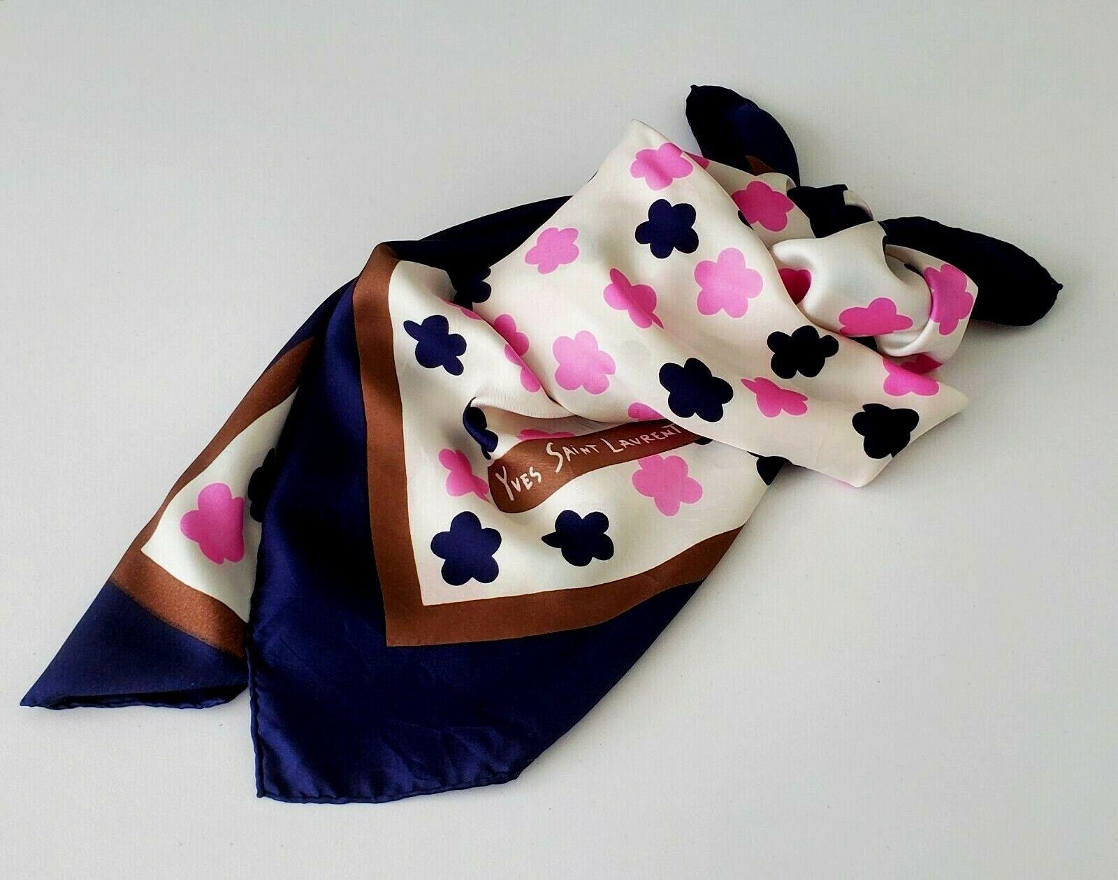 Vintage 1970's YVES SAINT LAURENT Navy Blue and Pink Flower Print Silk Scarf