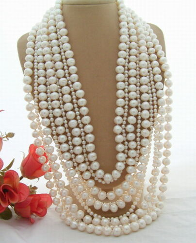 """9Strds 21-30/"""" 10mm White Pearl Necklace Stunning"""