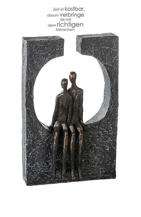 79617 Escultura Zweisamkeit Poli BronzeColorne Figura Auf Basis gris Oscuro