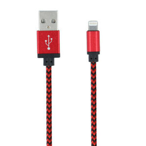 USB-Lightning-Kabel-Rot-Ladekabel-Datenkabel-Nylon-fuer-iPhone-7-Plus-6-S-5-S