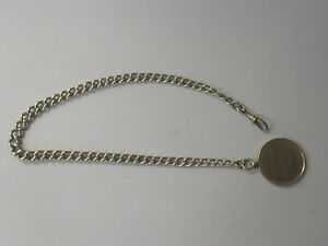 ANTIQUE-SOLID-SILVER-WATCH-CHAIN-HALLMARKED-EVERY-LINK-1920-FOB-H-M-S-CALEDON