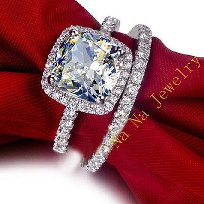 Ladys Diamonique 925 Silver White Sapphire Wedding Couple Ring Set Sz 5-11