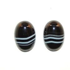 Black and White Agate 10x14mm with 4.5mm dome Cabochons Set of 2 (11761)
