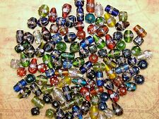 LARGE HEAVY LOOSE FANCY INDIA GLASS BEADS-MIXED COLORS-SHAPES-15 BEADS-FREE GIFT