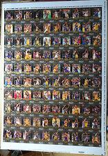 2008/09 Upper Deck MVP Kobe Bryant 100 Card Set Uncut Sheet