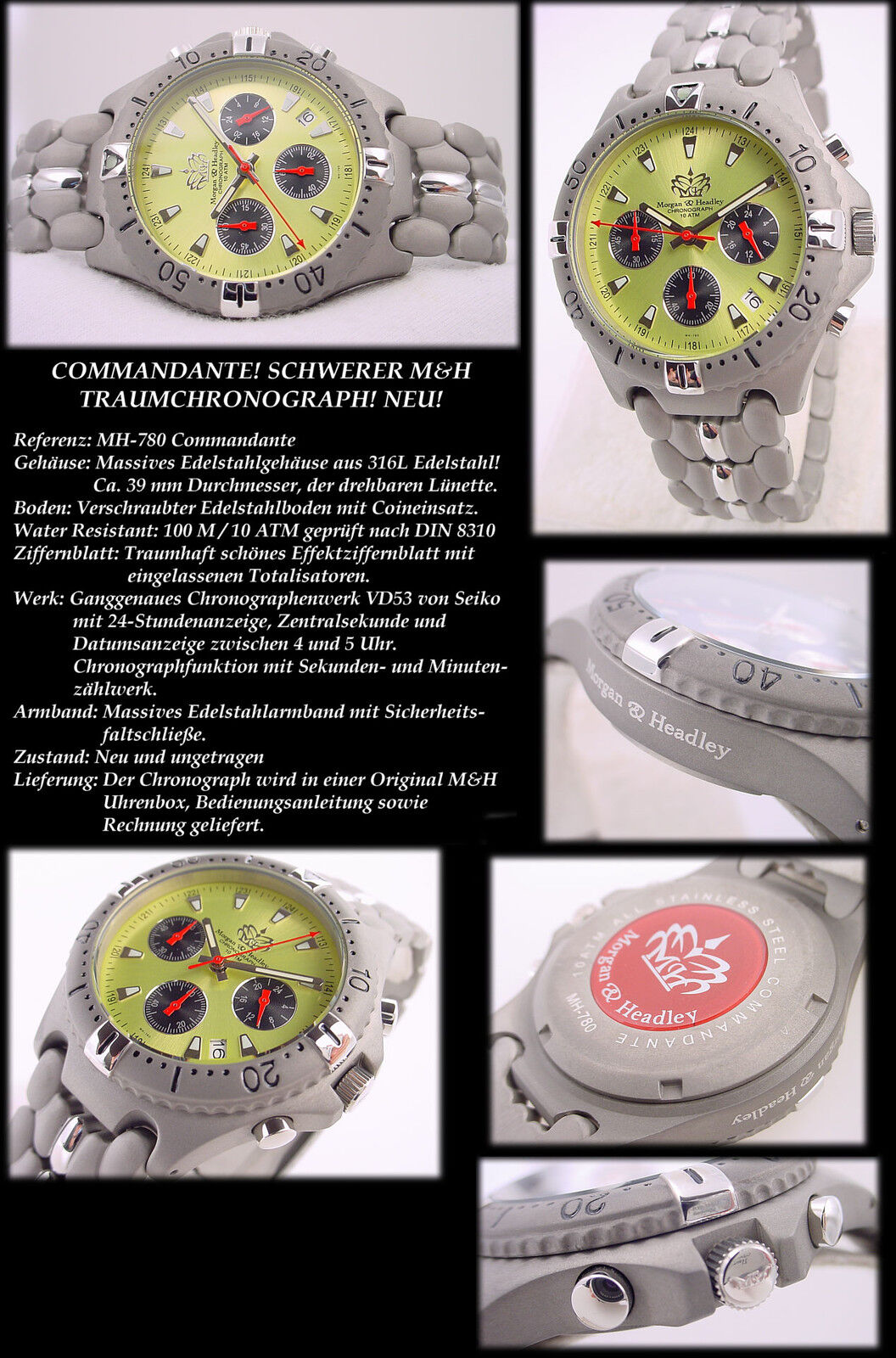 Pretty Commandante Athletic Chronograph Solid Stainless Steel Neu