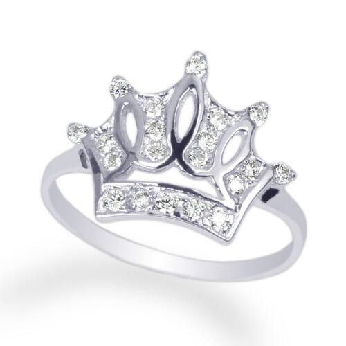 Ladies  Rhodium White Gold Plated Round Clear CZ Fashion Crown Size 4-9