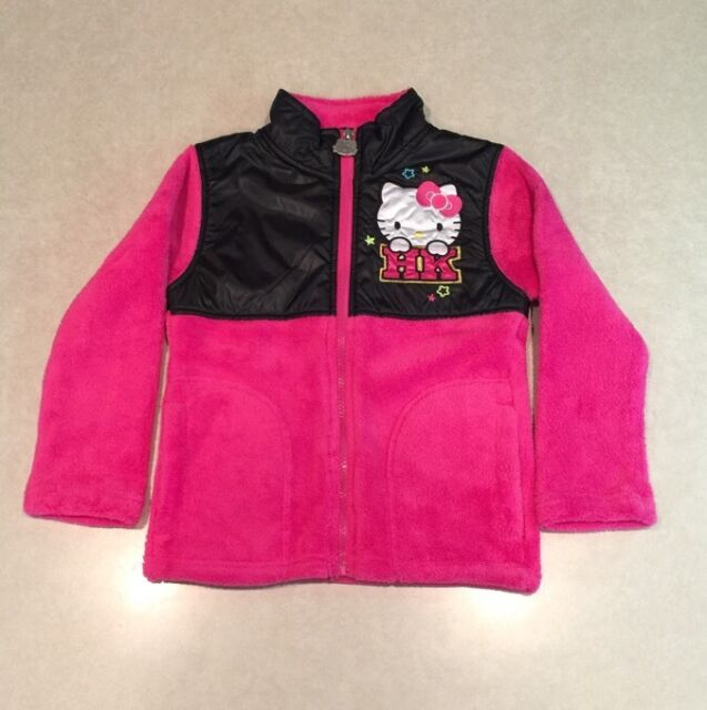 25ff13644 NWT~~HELLO KITTY Black/Hot Pink Girl's Fleece Jacket~~Size 4 | eBay