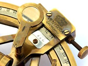 """4"""" Solid Brass Sextant Nautical Working Instrument Astrolabe Ships Maritime Item"""
