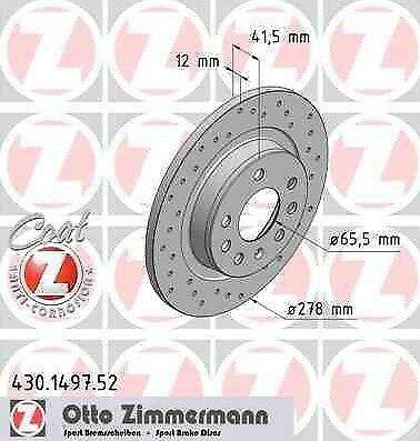 Disque de frein arriere ZIMMERMANN PERCE 430.1497.52 SAAB 9-3 Break 2.0 T 200 20