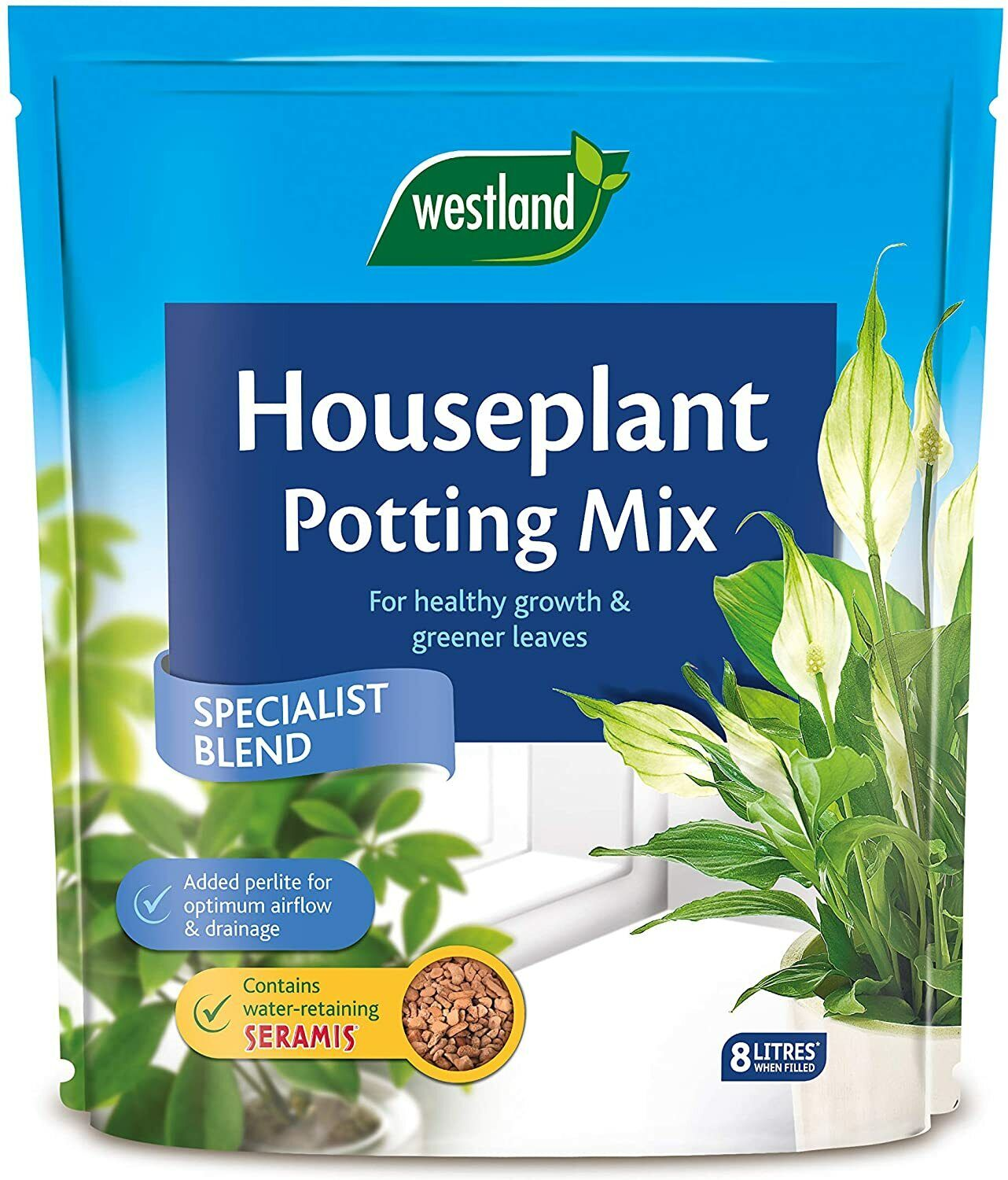 Westland 10200035 Houseplant Potting Compost Mix and Enriched with Seramis, 8 L,