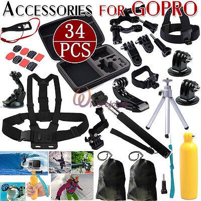 30 in 1 Monopod Pole Floating Head GoPro Hero 2 3 4 5 Camera Accessories Set Kit