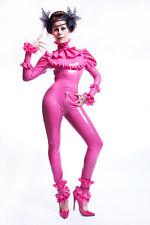 Maßanfertigung:  Latex Puppe Catsuit  mit Rüschen. Latex Doll Catsuit