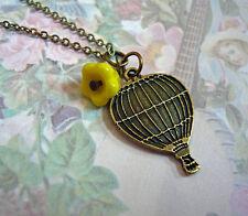 Yellow Flower Hot Air Ballon Flower Floral Rose Bronze Necklace