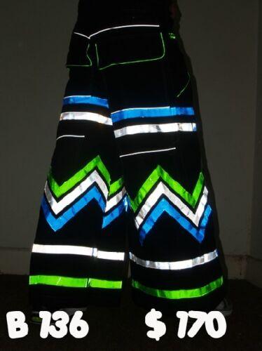Raver ore Techno Hardstyle Tanz Hose fluoreszierend Shuffle DJ PHAT Pants n6