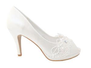 515c10c20bac Image is loading Stunning-Pearl-Peeptoe-Platform-Heels-Prom-Shoes-Wedding-