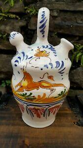 Vintage Pottery hand painted glazed   Double Spout Pitcher Mid Century
