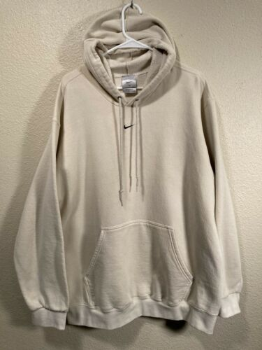 Vintage Nike Center Swoosh Men's XL Beige Hoodie S