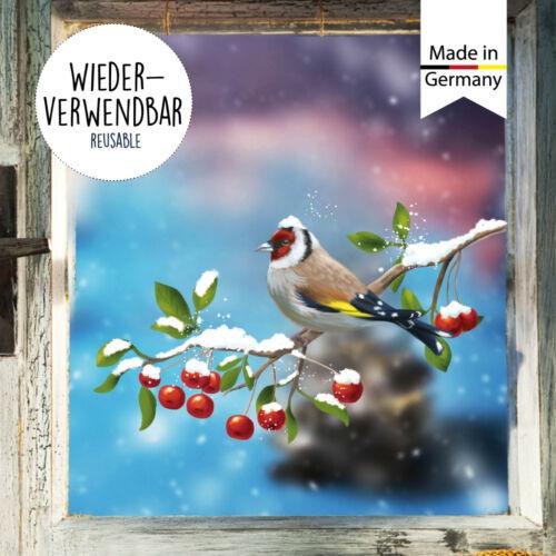 Fensterbild Winter Weihnachten Vögel Stieglitz Fensteraufkleber Schneeflocken