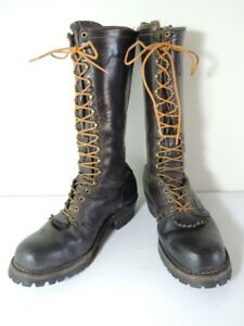 WESCO-Black-Leather-Lace-Up-13-Inch-Steel-Toe-Work-Boots-Size-11