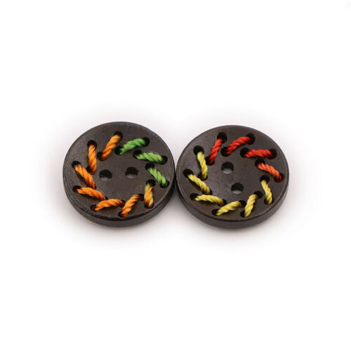CN/_ 50x Colorful Line Round Wooden Buttons DIY Sewing Clothes Hand Crafts Deco