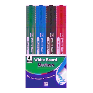 4 White Board Markers Mix Colours For School,Home And Office