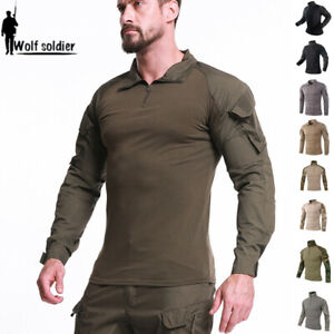 Mens-Tactical-T-Shirts-Army-Military-Combat-Long-Sleeve-Casual-Shirt-Camouflage
