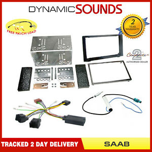 Double-Din-Car-CD-Stereo-Fitting-Kit-Fascia-Panel-Steering-Control-For-SAAB-93