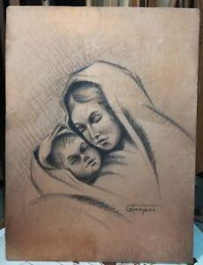 Disegno Madonna Con Bambino G Troiani 25x34 Ebay