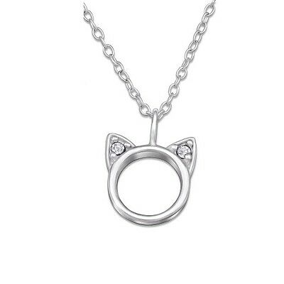 """Sterling Silver 925 Crystal Cat Face Pendant & 18"""" Trace Chain Necklace"""
