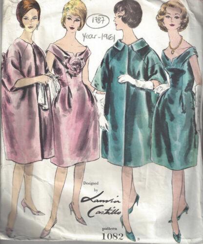 1961 Vintage vogue-schnittmuster B38 Kleid /& Mantel Jeanne 1787