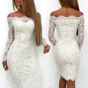 best website d3cc2 8fb0f Dettagli su Vestito donna corto bianco pizzo ricamato sexy elegante sera  primavera moda 2019