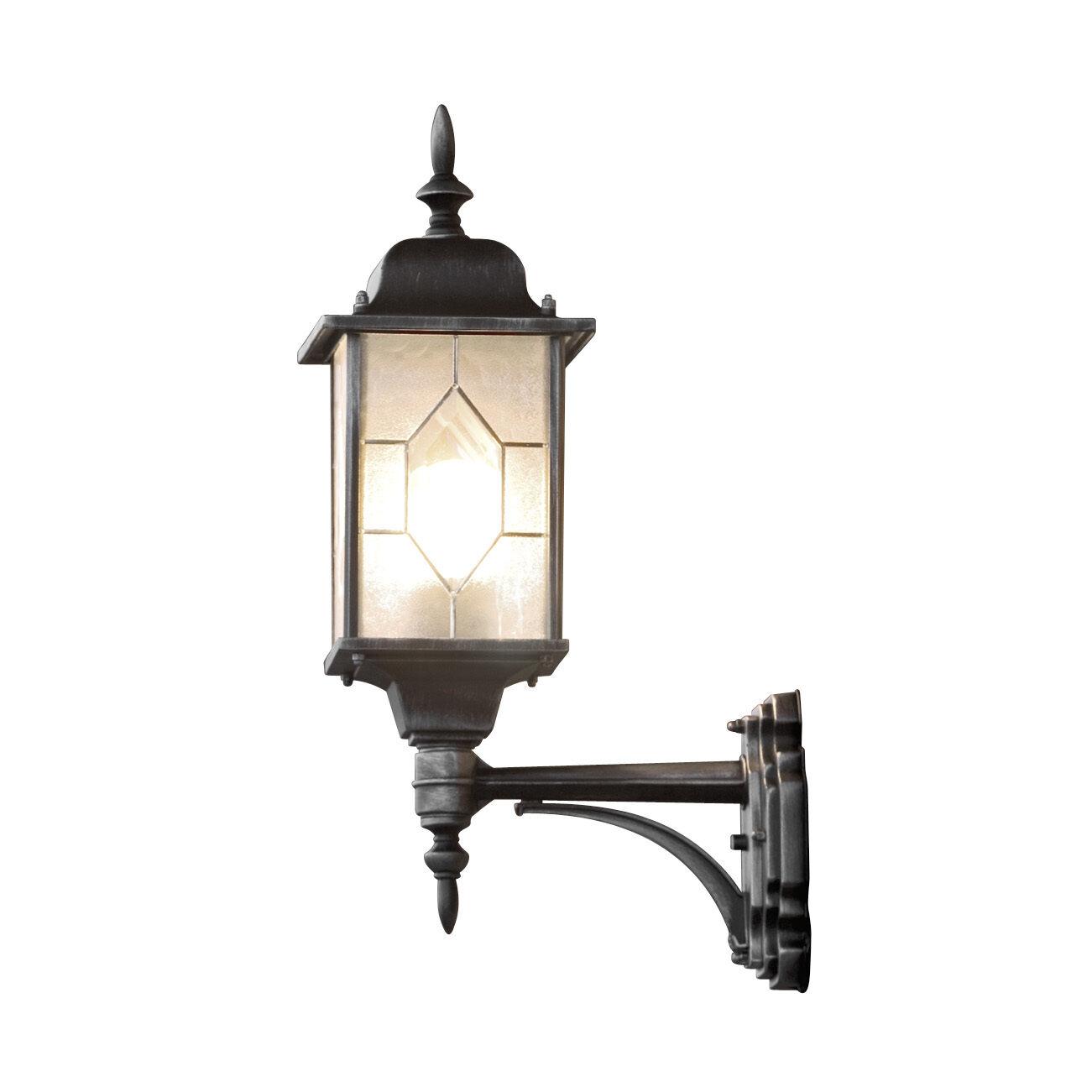Large Ornate Leaded Lantern Wall Light Outdoor 4 Sided schwarz Leaded Opaque