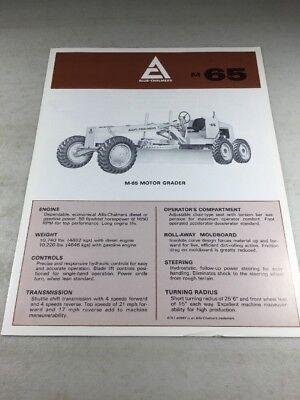 Original Allis Chalmers M65 Motor Grader Sales Brochure