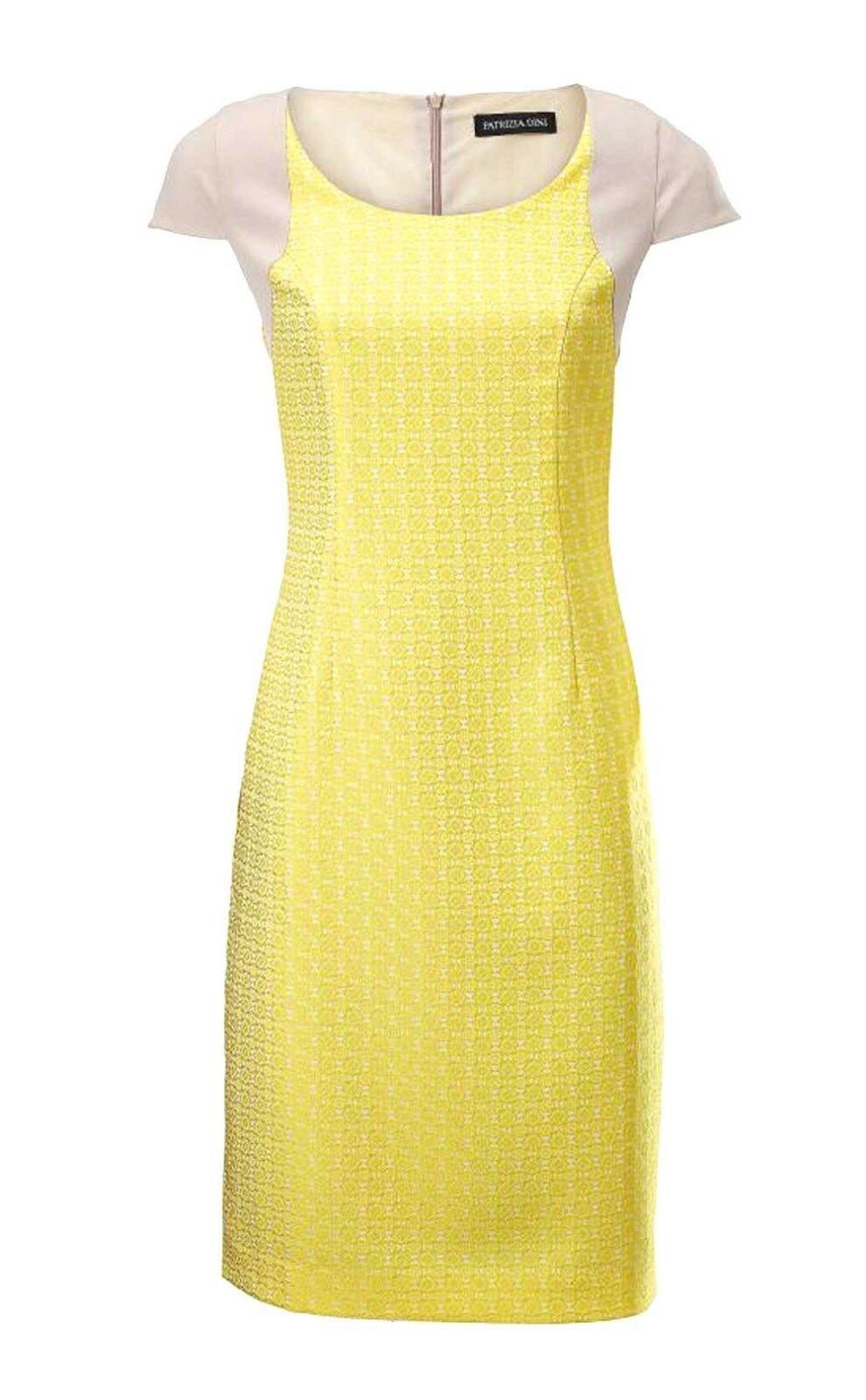 TCJ 002.609 Kleid Jacquardkleid Abendkleid Sommerkleid Freizeitkleid gelb