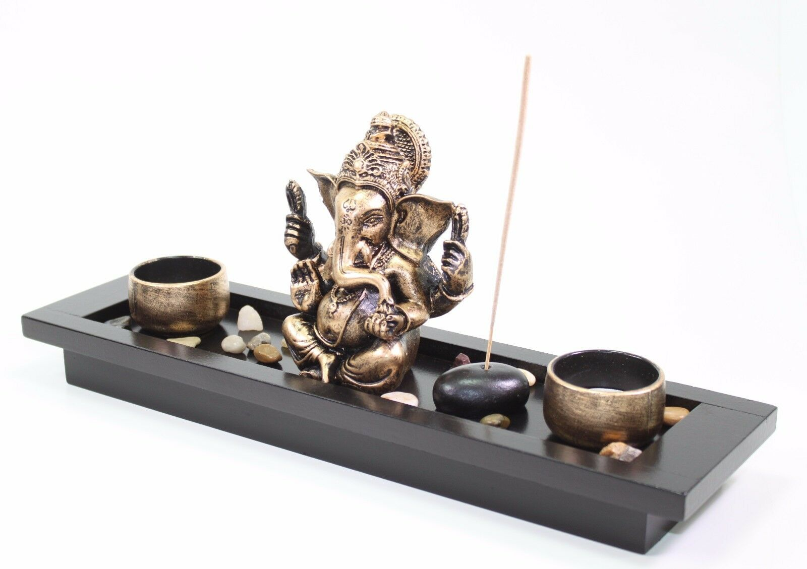 Elephant ganesha zen rocks incense burner candle holder for Home decor zen